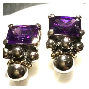 Amethyst Earrings in Silver 925.